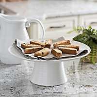 Extra Large White Ribbed Ceramic Cake Plate