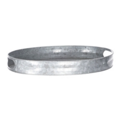 Galvanized Oval Tray with Handles