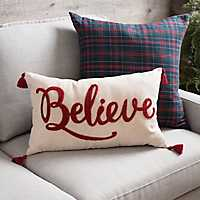 Believe Fringe Christmas Accent Pillow