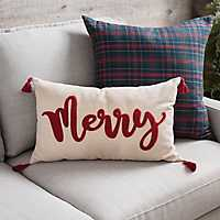 Merry Fringe Christmas Accent Pillow
