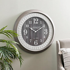 Glenmont Gray and White Framed Wall Clock
