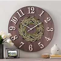 Woodgrain with Greenery Wreath Wall Clock