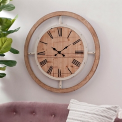 Stuart Wood and Metal Framed Wall Clock