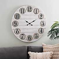 Grant White with Galvanized Numbers Wall Clock