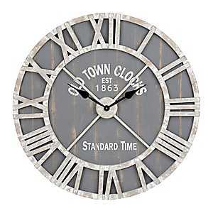 Camden Gray Wood Layered Wall Clock
