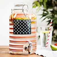 American Flag Glass Beverage Dispenser