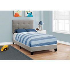 Tufted Gray Linen Upholstered Twin Bed