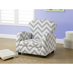 Gray Chevron Kids Accent Chair