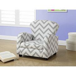 Gray Chevron Kids Accent Chair