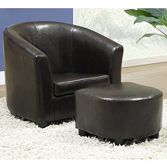 Faux Dark Brown Leather Chair with Ottoman Set