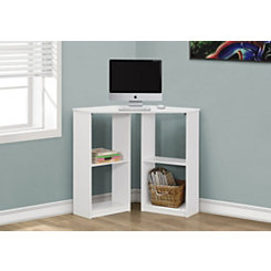 White Corner Kids Computer Desk with Shelves
