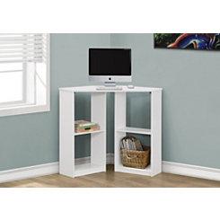 White Corner Kids Computer Desk with Shelves