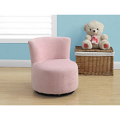 Fuzzy Pink Toddler Swivel Chair