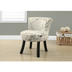 Vintage French Script Kids Accent Chair