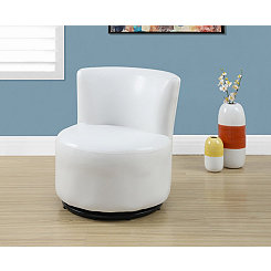 White Faux Leather Toddler Swivel Chair