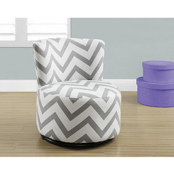 Gray Chevron Toddler Swivel Chair