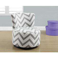 Gray Chevron Toddler Swivel Chair