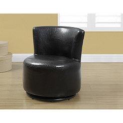 Dark Brown Faux Leather Toddler Swivel Chair