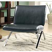 Black Faux Leather Accent Chair with Chrome Legs