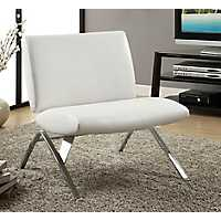 White Faux Leather Accent Chair with Chrome Legs