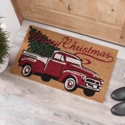 Merry Christmas Truck Coir Doormat
