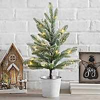 Pre-Lit Mini Christmas Tree in Metal Bucket