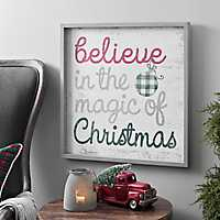 Red and Gray Believe in the Magic Wall Plaque
