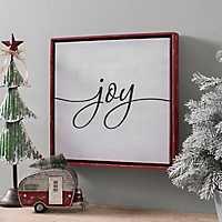 Joy Red Framed Wall Plaque