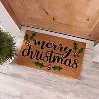 Merry Christmas Holly Coir Doormat