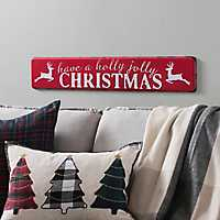 Metal Holly Jolly Plaque