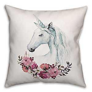 Unicorn Floral Pillow