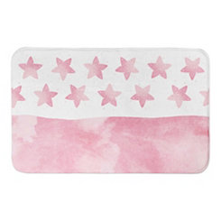 Pink Watercolor Stars Bath Mat