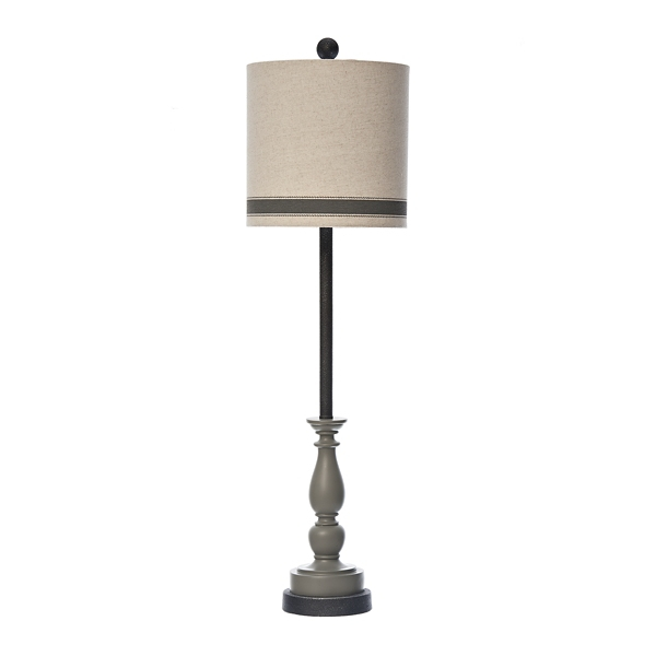 Allison Gray Striped Shade Buffet Lamp