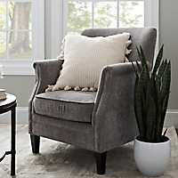 Lillian Gray Velvet Nailhead Accent Chair