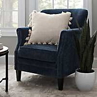 Lillian Navy Velvet Nailhead Accent Chair