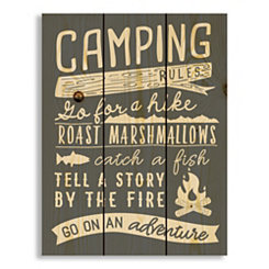 Camping Rules Wood Pallet Art Print