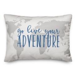 Live Your Adventure Map Pillow