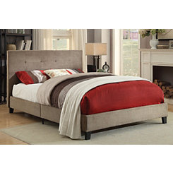 Upholstered Brown Full Platform Bed