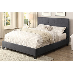 Upholstered Gray Full Platform Bed