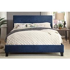 Upholstered Blue Full Platform Bed