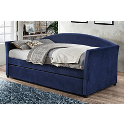 Blue Velvet Twin Daybed with Rollout Trundle