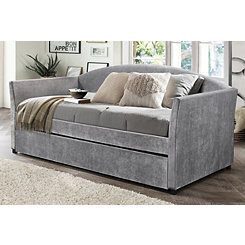 Gray Velvet Twin Daybed with Rollout Trundle