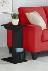 Black Wood C-Table with Book Rack