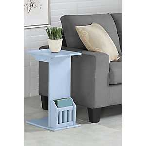 Blue Wood C-Table with Book Rack