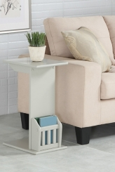 Gray Wood C-Table with Book Rack