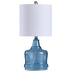 Hammered Blue Glass Jug Table Lamp