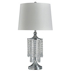Steel and Crystal Chandelier Table Lamp