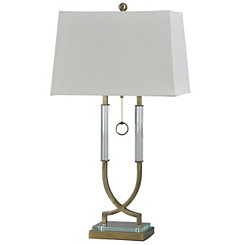 Steel and Crystal Cross Column Table Lamp