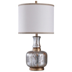Silver and Gold Distressed Glass Table Lamp
