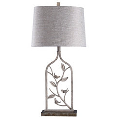 Distressed Cream Leaf Stem Table Lamp